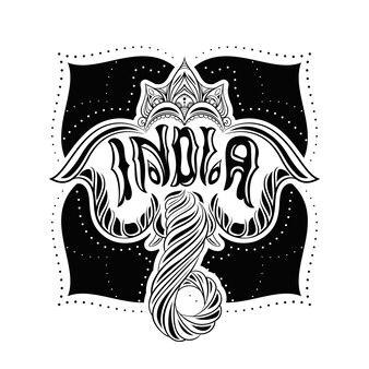 Illustration vectorielle. éléphant indien dans le style de boucle.
