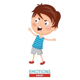 Illustration vectorielle de l'émotion de kid en colère
