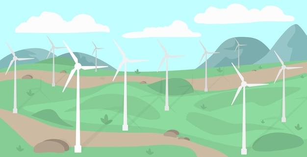 Illustration vectorielle d'énergie propre de moulin à vent renouvelable moderne