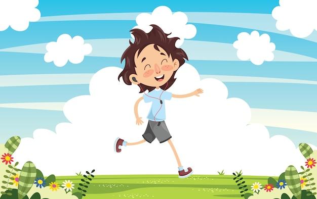 Illustration vectorielle de l'enfant en cours d'exécution