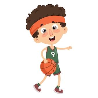 Illustration vectorielle de l'enfant jouant au basketball