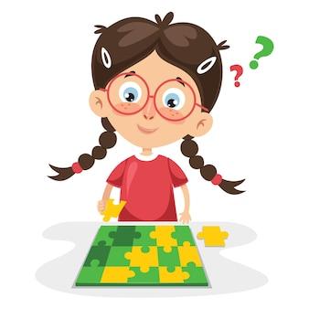 Illustration vectorielle de l'enfant jouant puzzle