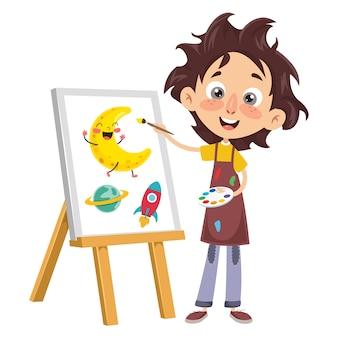 Illustration vectorielle d'un enfant peinture