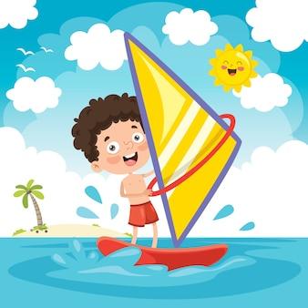 Illustration vectorielle de l'enfant planche à voile
