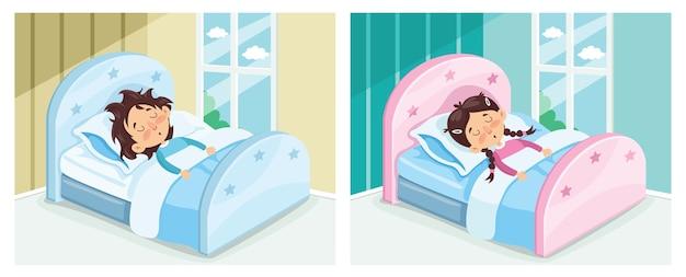 Illustration vectorielle de l'enfant qui dort