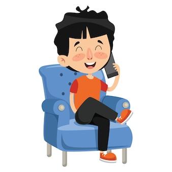 Illustration vectorielle de l'enfant qui parle au téléphone
