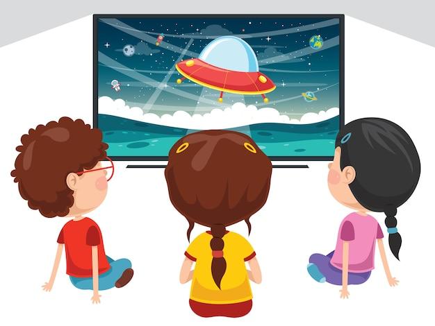 Illustration vectorielle de l'enfant qui regarde la télévision