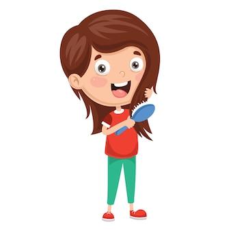 Illustration vectorielle de l'enfant se brosser les cheveux