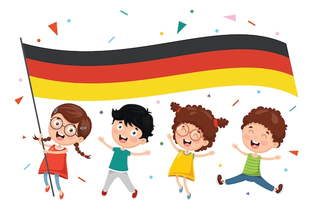 Illustration vectorielle de l'enfant tenant le drapeau