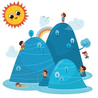 Illustration vectorielle d'enfants actifs heureux