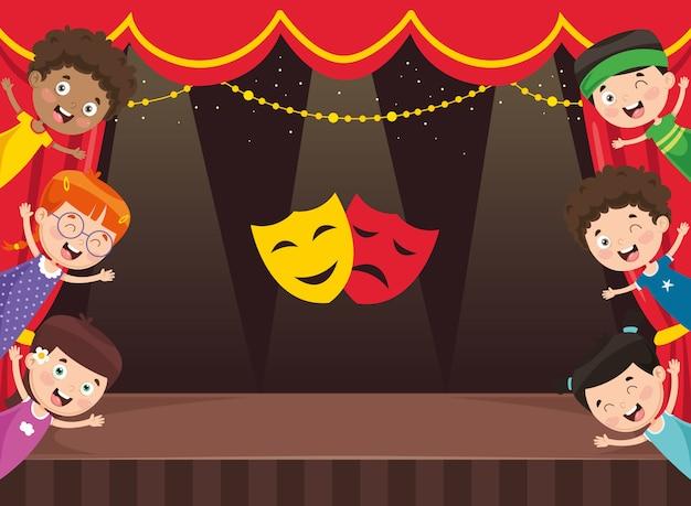 Illustration vectorielle des enfants au théâtre