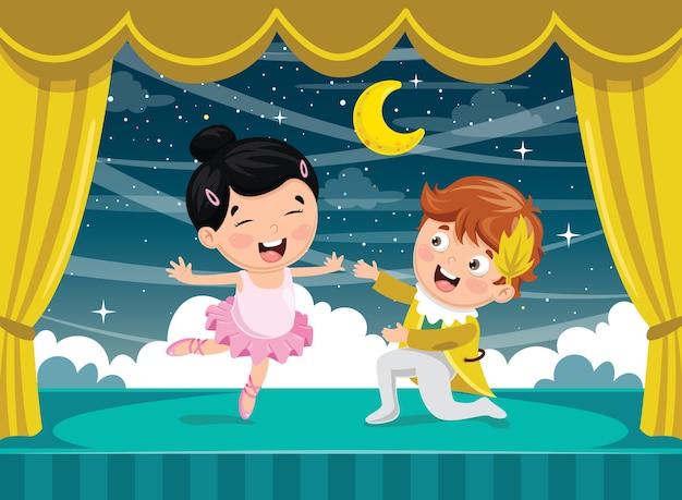 Illustration vectorielle des enfants dansant