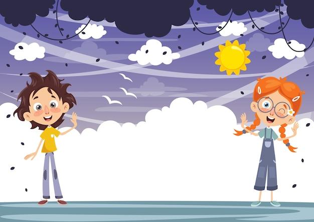 Illustration vectorielle des enfants de dessin animé