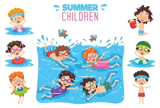 Illustration vectorielle des enfants d'été