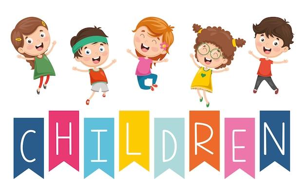 Illustration vectorielle des enfants heureux