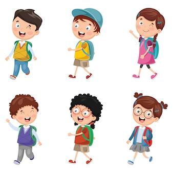 Illustration vectorielle d'enfants heureux