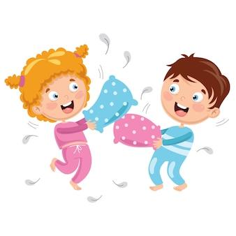 Illustration vectorielle des enfants jouant bataille d'oreillers