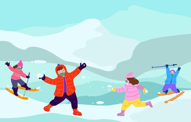 Illustration vectorielle enfants jouant dans la neige en hiver