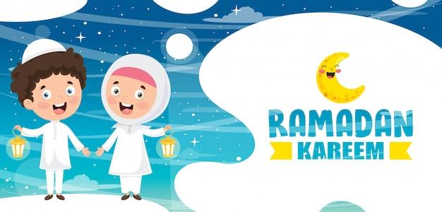 Illustration vectorielle des enfants musulmans célébrant le ramadan