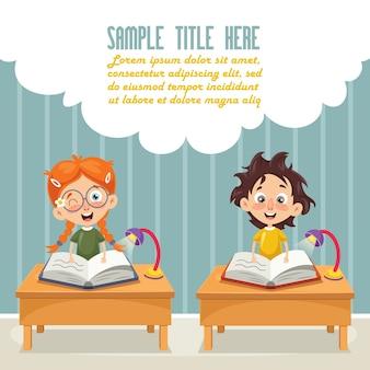 Illustration vectorielle des enfants qui étudient