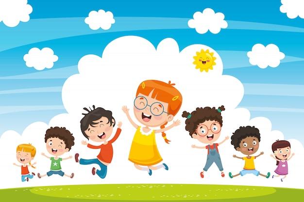 Illustration vectorielle des enfants qui jouent