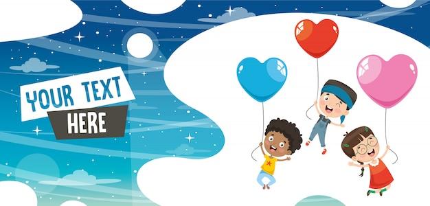 Illustration vectorielle des enfants qui volent avec des ballons