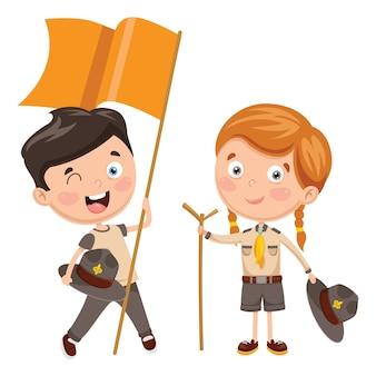 Illustration vectorielle des enfants scouts