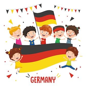 Illustration vectorielle des enfants tenant le drapeau de l'allemagne
