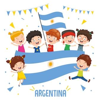 Illustration vectorielle des enfants tenant le drapeau de l'argentine
