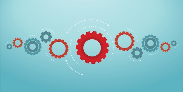 Illustration vectorielle d'engrenages fond roue dentée