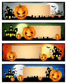 Illustration vectorielle de l'ensemble de bannière happy halloween
