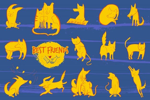 Illustration vectorielle avec ensemble de chiens et chats de personnages mignons