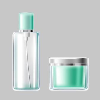 Illustration vectorielle ensemble d'emballage cosmétique en verre bleu clair