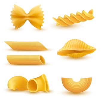 Illustration vectorielle ensemble d'icônes réalistes de macaronis secs, pâtes de diverses sortes