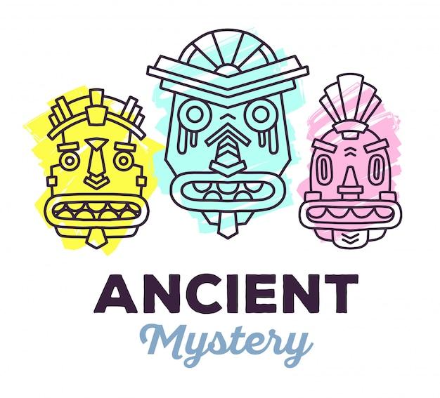 Illustration vectorielle de l'ensemble de masques colorés tribaux ethniques avec texte sur fond blanc. masque ethnique.