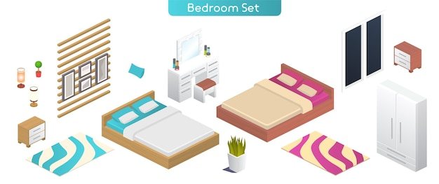 Illustration vectorielle de l'ensemble de meubles intérieurs modernes de chambre à coucher. vue isométrique du lit double, armoire, table de chevet, lampe, coiffeuse, fenêtre, plante en pot, peintures, objets isolés de décoration intérieure