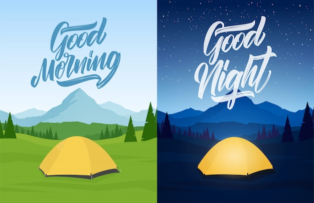 Illustration vectorielle: ensemble de paysage de deux montagnes avec camp de tentes, lettring de main de good morning et good night.
