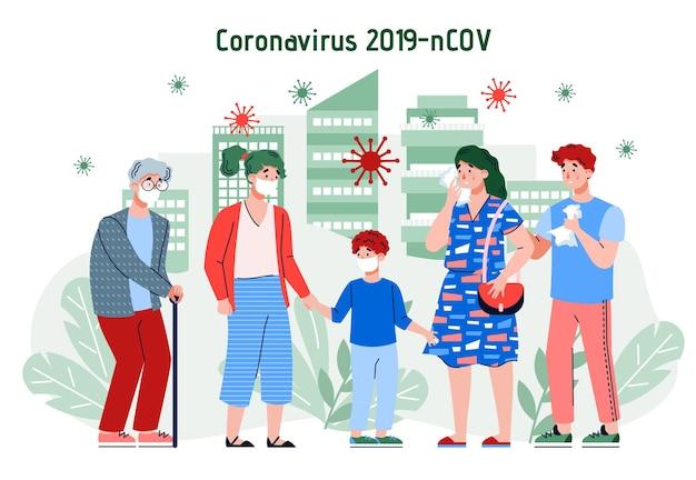 Illustration vectorielle d'une épidémie ou d'une épidémie d'infection à coronavirus dans la ville
