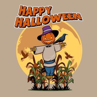 Illustration vectorielle d'épouvantail effrayant pour la fête d'halloween.