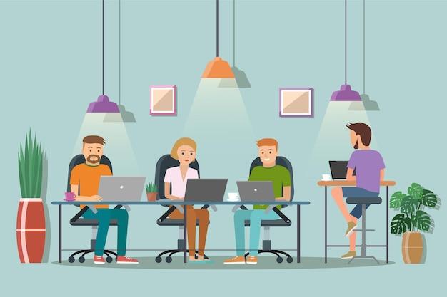 Illustration vectorielle de l'espace de coworking. lieu de travail, bureau.