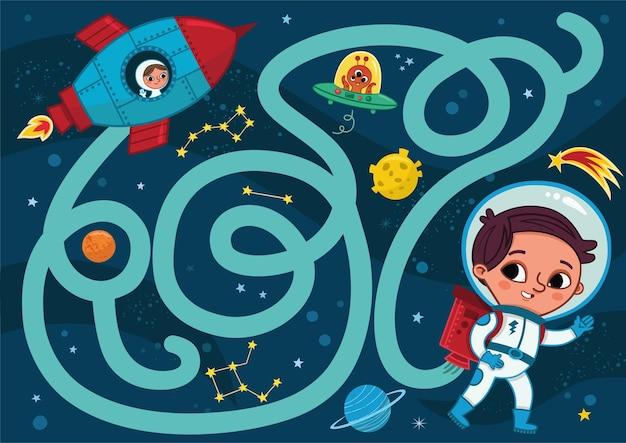 Illustration vectorielle de l'espace garçon du jeu de labyrinthe