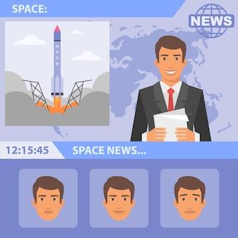 Illustration vectorielle, espace journaliste et news, format eps 10