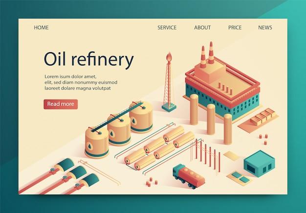 Illustration vectorielle est écrite diapositive de raffinerie de pétrole.