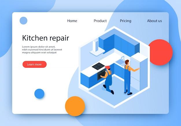 Illustration vectorielle est la réparation de cuisine écrite.