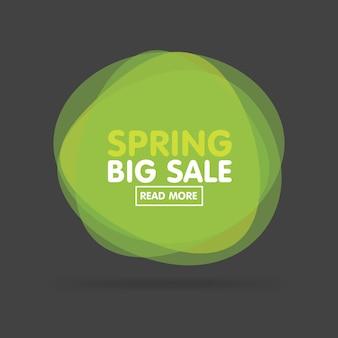 Illustration vectorielle d'étiquettes vertes colorées transparentes modernes pour les salutations et la promotion. grande vente de printemps