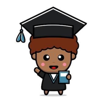 Illustration vectorielle d'étudiant de remise des diplômes mignon