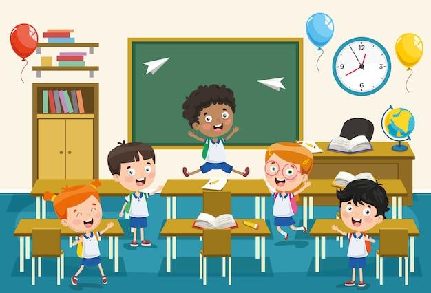 Illustration vectorielle d'étudiants en dessin animé