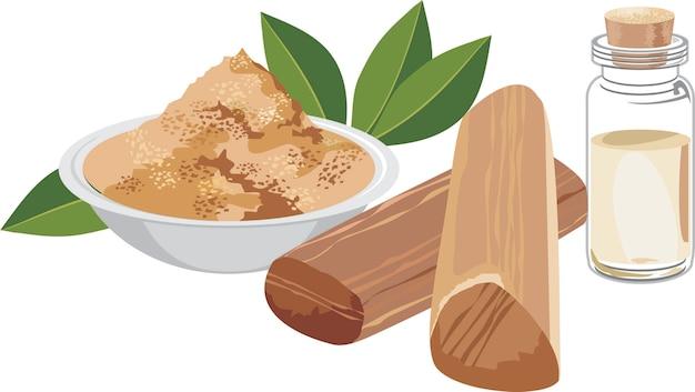 Illustration vectorielle évolutive de poudre de chandan ou de bois de santal avec des bâtons