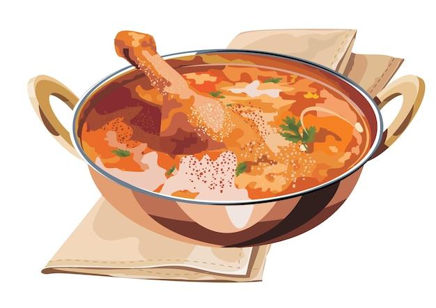 Illustration vectorielle évolutive de poulet au curry ou masala avec un morceau de jambe proéminent servi en karahi