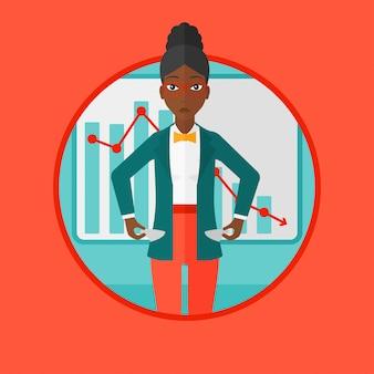 Illustration vectorielle de faillite entreprise femme.